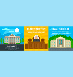 Courthouse supreme banner set flat style vector