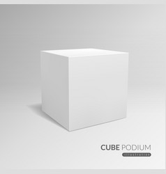 cube podium 3d cube pedestal white blank block vector image