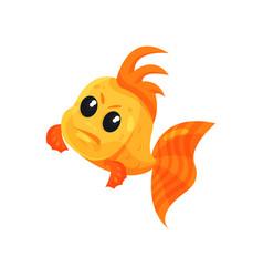 Cute angry goldfish funny fish cartoon character vector