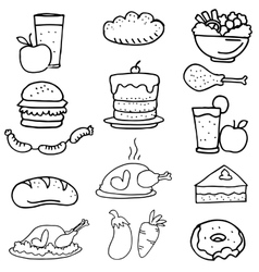 Doodle of food breakfast set vector