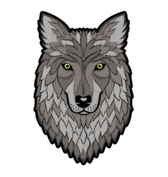 Embroidery wolf head patch vector