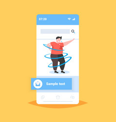 fat obese man dancing pose overweight sweaty guy vector image