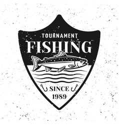 Fishing tournament badge shield with salmon vector