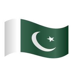 Flag of Pakistan waving on white background vector image