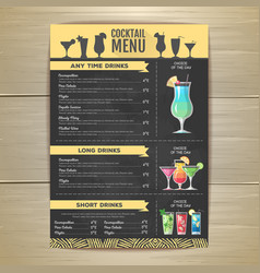 Flat cocktail menu design document template vector