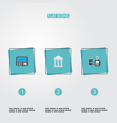 Flat icons remote paying bank atm and other vector