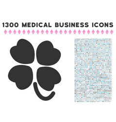 Four-leafed clover icon with 1300 medical business vector