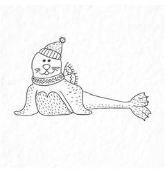 Funny seal nursery art minimalist scandinavian vector