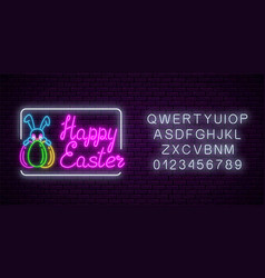 glowing neon sign easter bunny with eggs and vector image