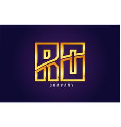 Gold golden alphabet letter ro r o logo vector