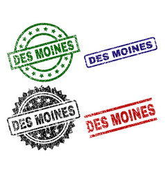 Grunge textured des moines seal stamps vector
