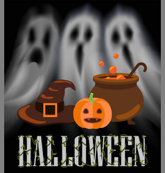 Halloween ghosts and apparitions poster vector