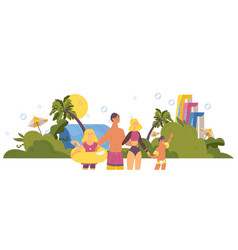 happy family in aqua park during summer tropical vector image
