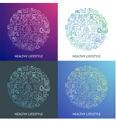 healthy lifestyle outline concept5 vector image