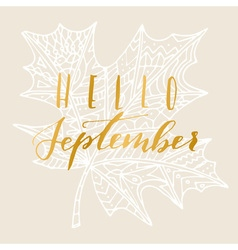 Hello september card vector image