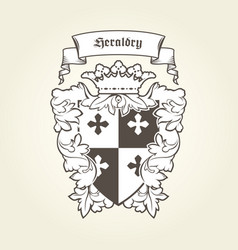 Heraldic royal coat of arms with imperial symbols vector