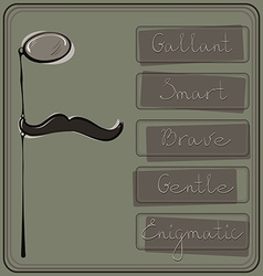 Hipster monocle and mustache vector