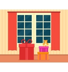 Holiday gift on living room vector