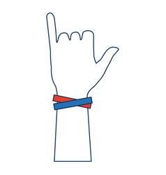 Human hand gesturing aloha symbol vector