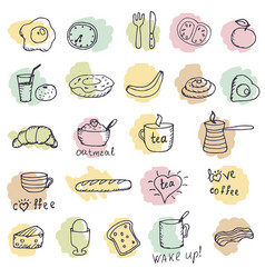 Icons breakfast foods vector