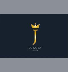 jewelry gold j alphabet letter logo icon creative vector image