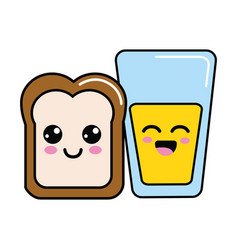 Kawaii happy halved bread and juice glass vector