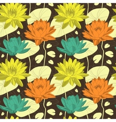 Lotus flowers in seamless pattern vector