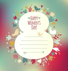March 8 card with love symbols instagram vector