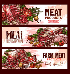 Meat product banners for butchery shop vector
