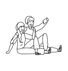 Millennial couple smartphone taking selfie black vector