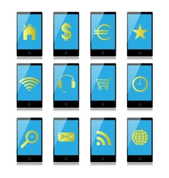Mobile phone with signs on the screen vector image