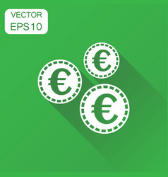 money coin euro icon business concept coins vector image