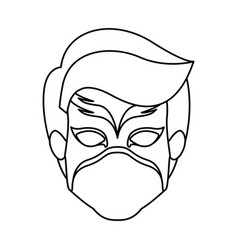 Monochrome contour of faceless boy superhero with vector