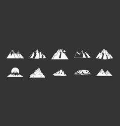 mountain icon set grey vector image