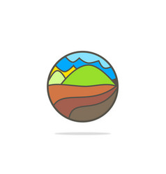 Mountain village nature logo vector