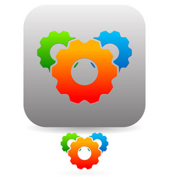 Multicolor cogwheel icon composition vector
