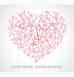 Musical heart with notes vector