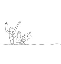 One continuous line drawing happy family vector