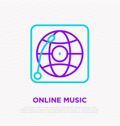 online music line icon record player with globe vector image