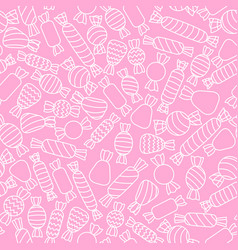 outlined white candies on the pink background vector image