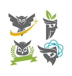 Owl leaf ribbon science fly logo design template vector