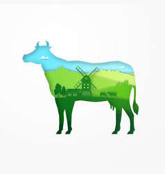 paper design of eco farm cow for carton package vector image vector image