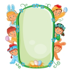 Poster with young children in Easter costumes vector image