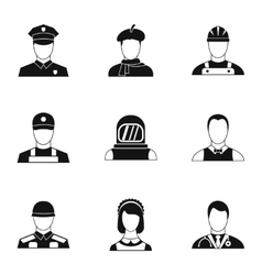 Profession icons set simple style vector