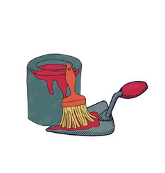 Putty knife paint can and brush vector