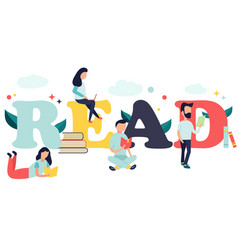 Reading concept with characters and books vector