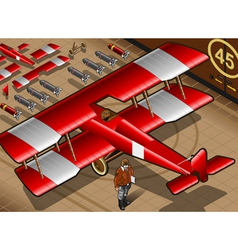 Red biplane vector