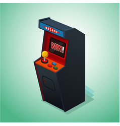 retro arcade machine isolated on white video game vector image
