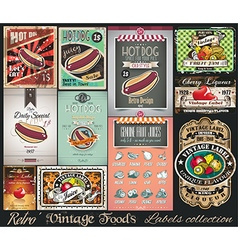 Retro Vintage Foods Labels collection Small vector