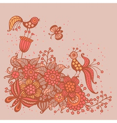 Romantic card with flowers birds and butterflies vector image